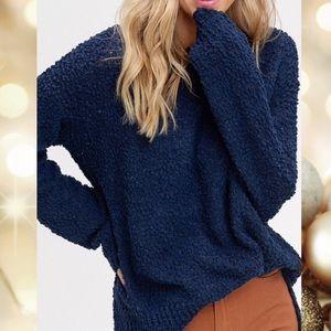 Emerald Popcorn Texture Pullover Sweater
